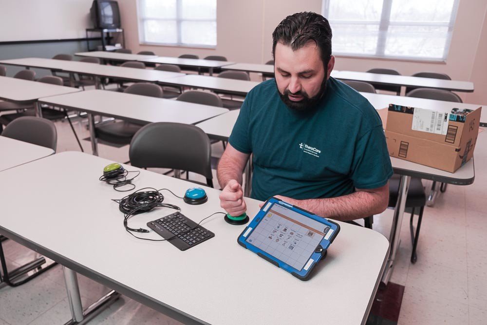Inspired by a course at Cox College, Matt Brewer uses technology to help pediatric patients have access to smart devices.