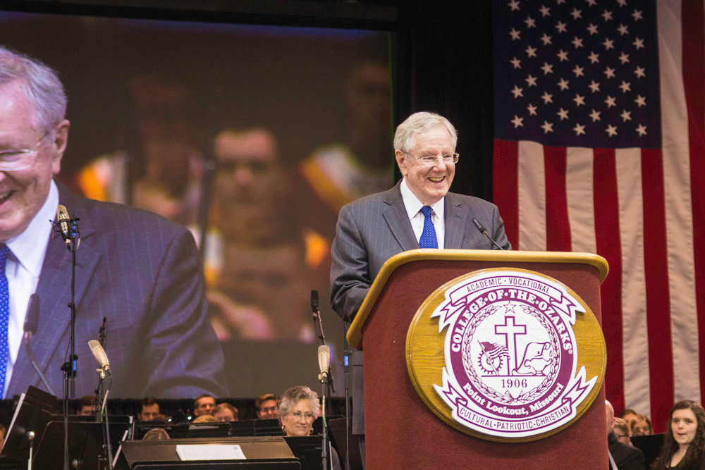 Forbes Media Chairman Steve Forbes addresses students and invited guests in the Howell W. Keeter Athletic Complex. As part of College of the Ozarks' spring 2018 Spring Free Enterprise Forum Convocation, Forbes spoke on how capitalism affects the U.S. economy, health care and taxes.