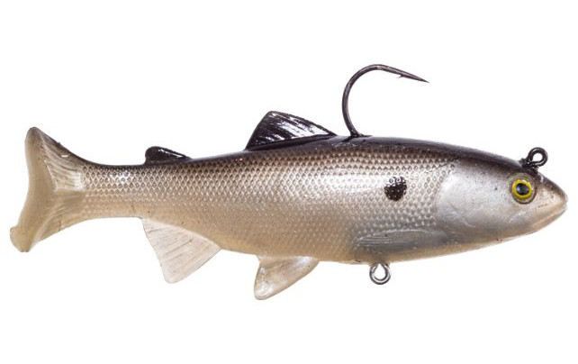 Huddleston Deluxe Inc. alleges Bass Pro Shop's Slo Mo Swimmer Swimbait lure, above, infringes on its patent.
