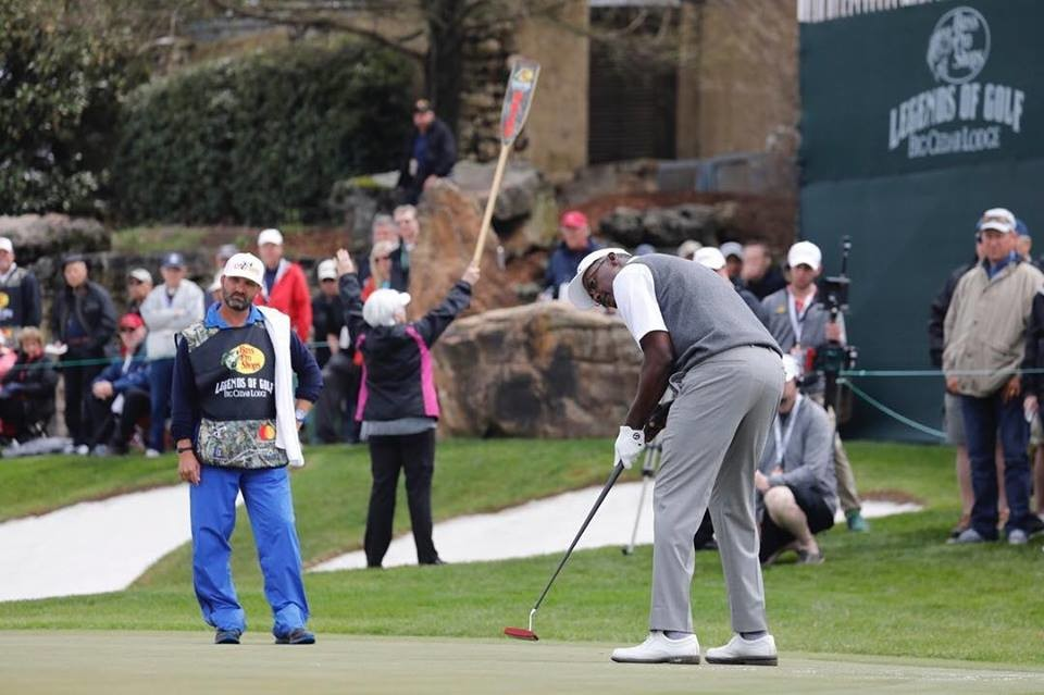 Vijay Singh, one of last year's two winners, putts during the 2018 tournament at Big Cedar Lodge.