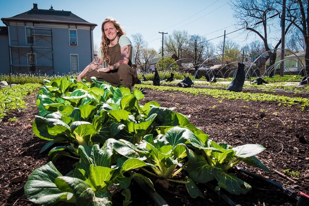 VEGGIE OASIS: Melissa Young-Millsap converted a run-down lot into a farming oasis that now produces 114 vegetable varieties.