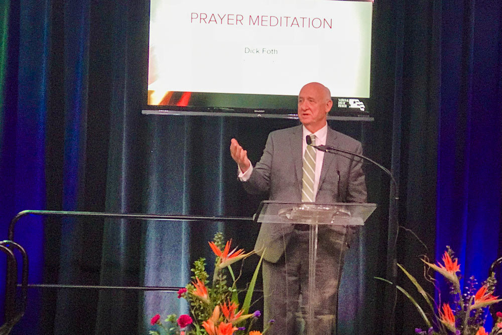 PRAY DAYAt the May 3 Springfield Prayer Breakfast at University Plaza Convention Center, author and speaker Dick Foth, above, provides meditative thoughts before the group prayed for leaders in the city, county, state and nation.