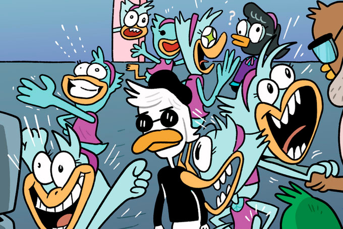 Party Fowl's art depicts ducks in party mode.