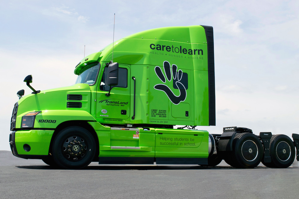 TransLand's Care to Learn-branded truck will generate funds for the nonprofit.