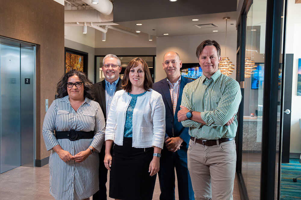Jessie Lannon, left, Darren Harrilson, Nicole Painter, John Bigler and Tim O'Reilly help lead O'Reilly Hospitality Management LLC.