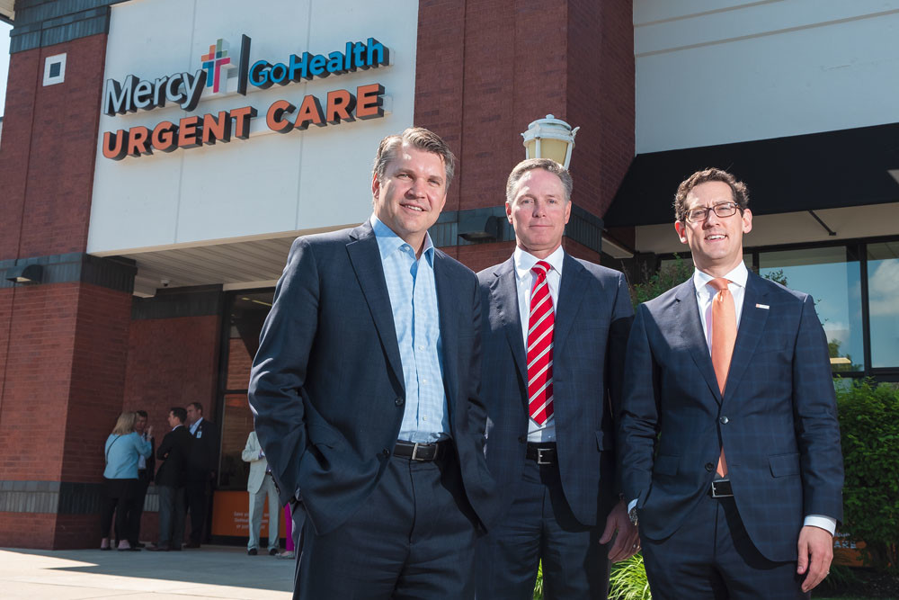 QUICK CARE: Shannon Sock, Mercy CFO and executive vice president; Jon Swope, president of Mercy Springfield Communities and the central region; and Todd Latz, CEO of GoHealth Urgent Care, are at the clinic opening.