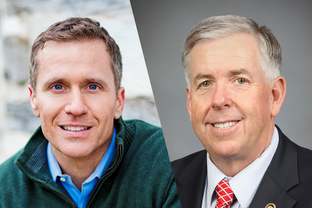 State leaders are welcoming the Missouri governor transition to Mike Parson, right, from Eric Greitens.