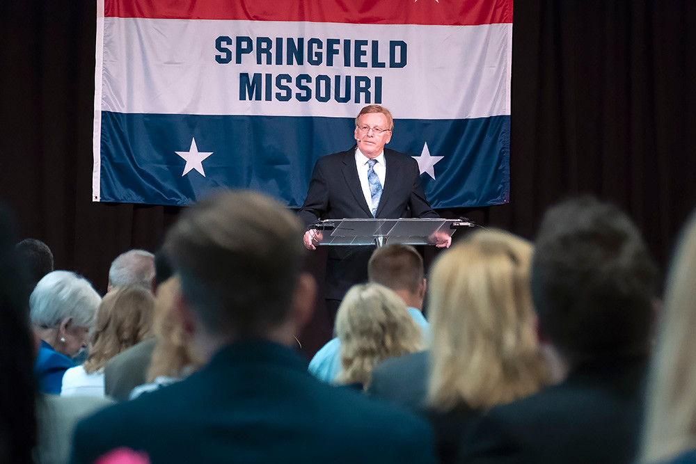 Mayor Ken McClure delivers his State of the City address during the chamber's Good Morning, Springfield event at Evangel University.