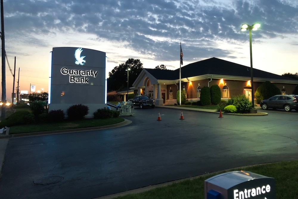 Officials this morning opened seven former Hometown Bank branches under the Guaranty Bank name. Pictured is a new branch in Joplin.