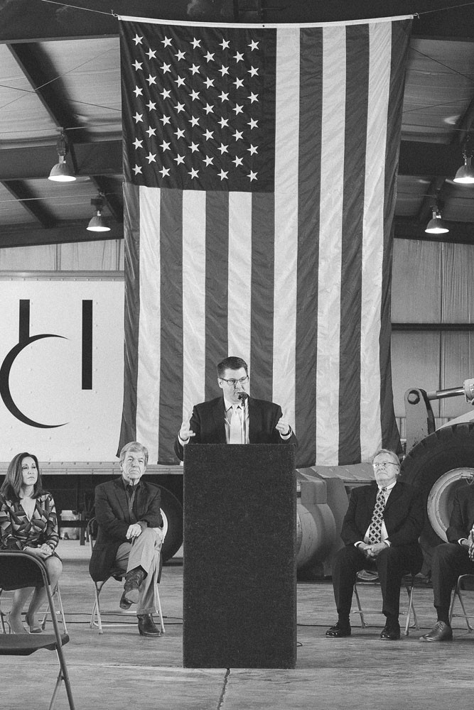 SPEECHMAKER: As part of a tax reform program at Hartman & Co. Inc., Morrow offers remarks before introducing Sen. Roy Blunt, second from left.
