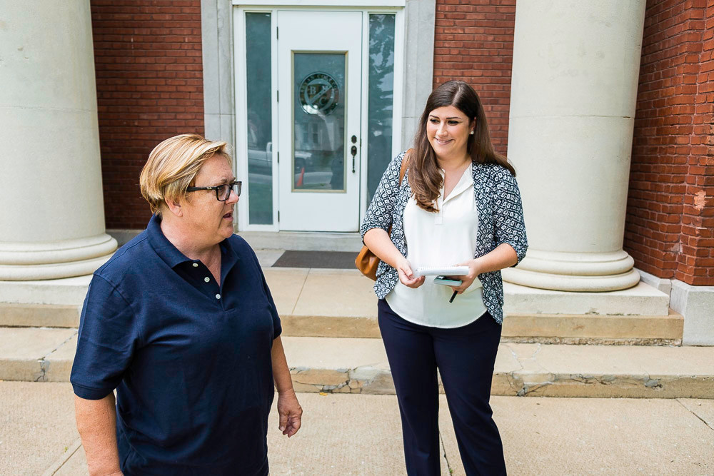 SBJ Features Editor Christine Temple, right, shadows Beth Domann outside the McDaniel School.