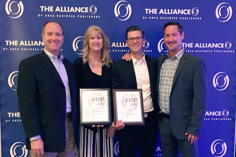 From left, SBJ Vice President of Business Development Todd Brierly, Circulation Director Diana Weber, Editorial Director Eric Olson and Associate Publisher Marty Goodnight accept two AABP awards in Washington, D.C.
