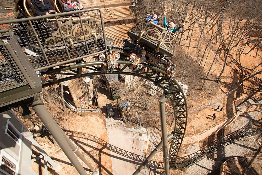 Silver Dollar City's new $26 million Time Traveler roller coaster helps it ranks fourth on a USA Today poll of the top U.S. amusement parks.
