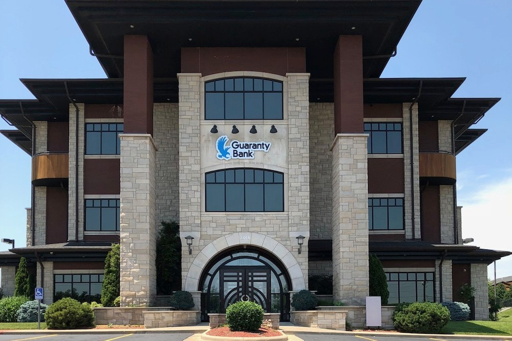 Guaranty Bank converted Hometown Bancshares Inc.'s branches during the second quarter, including this Joplin location. Company officials cited costs from the acquisition for a second-quarter net loss.