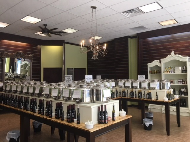 The shop features more than 20 gourmet olive oils and 40 flavored balsamic vinegars.