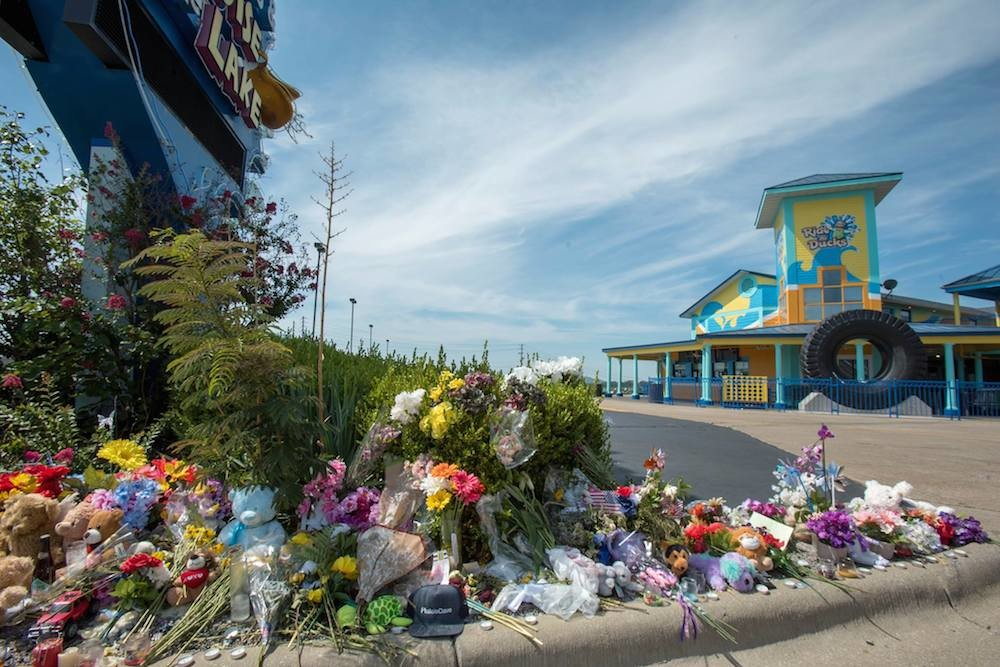 A memorial in front of Ride the Ducks Branson mourns victims of the July 19 accident.