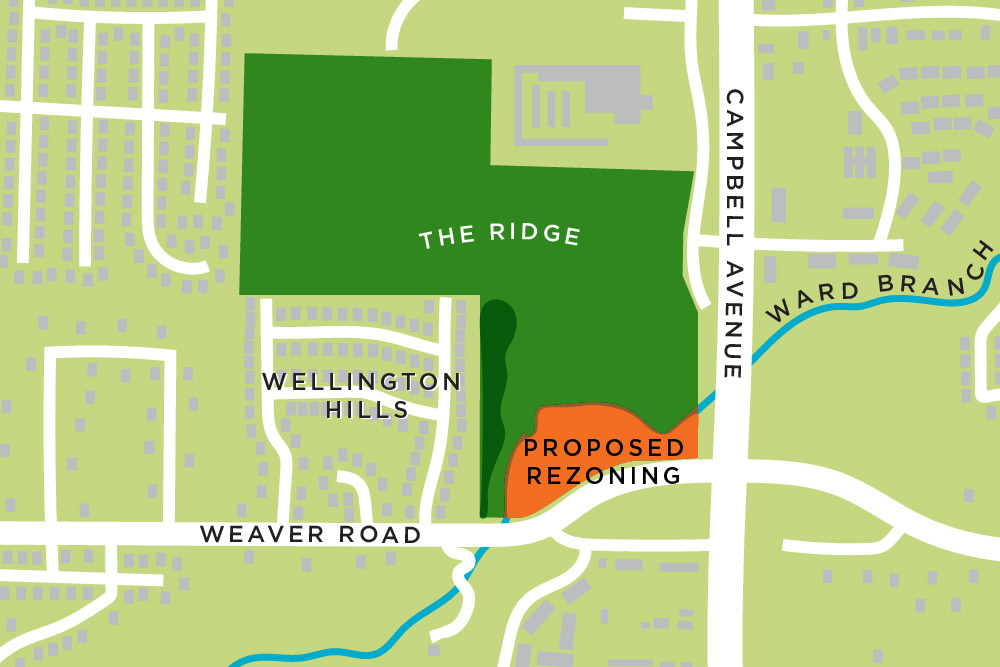 The Ridge developer is seeking to rezone roughly 6 acres at Campbell Avenue and Weaver Road.