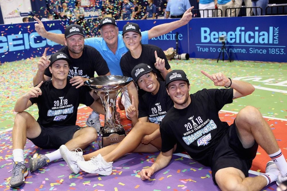 The Springfield Lasers win the King Trophy at the World TeamTennis championship.