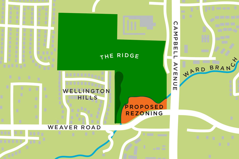 The Ridge developer seeks to rezone 6 acres at Campbell Avenue and Weaver Road to multifamily residential. Full plan would develop the land south of the Library Center.