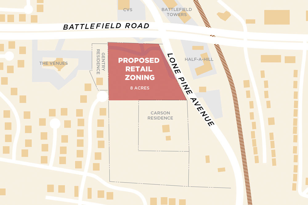 ZONING REQUEST: Briarcliff Investments and John Gentry have applied to rezone 8 acres at Battlefield Road and Lone Pine Avenue.