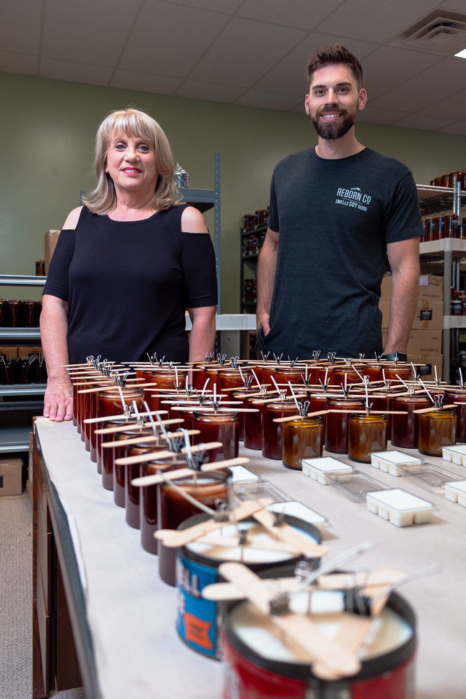 PLEASANT AROMAS: Patty and Adam Johnson sell handmade soy wax candles to around 100 wholesale clients, including 27 in the Springfield area.