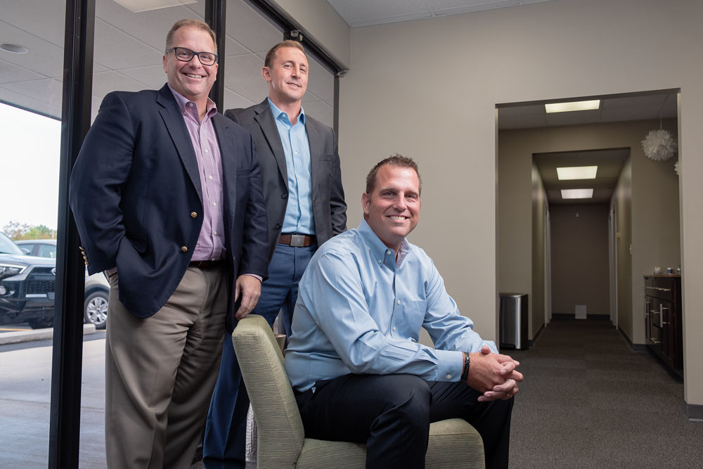 REMOTE CONTROL: Torrey Barnhouse, co-owner; Josh Kerns, CFO; and Jason Barnhouse, VP, partnership and innovation, are part of the leadership team at Trust Healthcare Consulting Services. The company's staff is 97 percent remote.