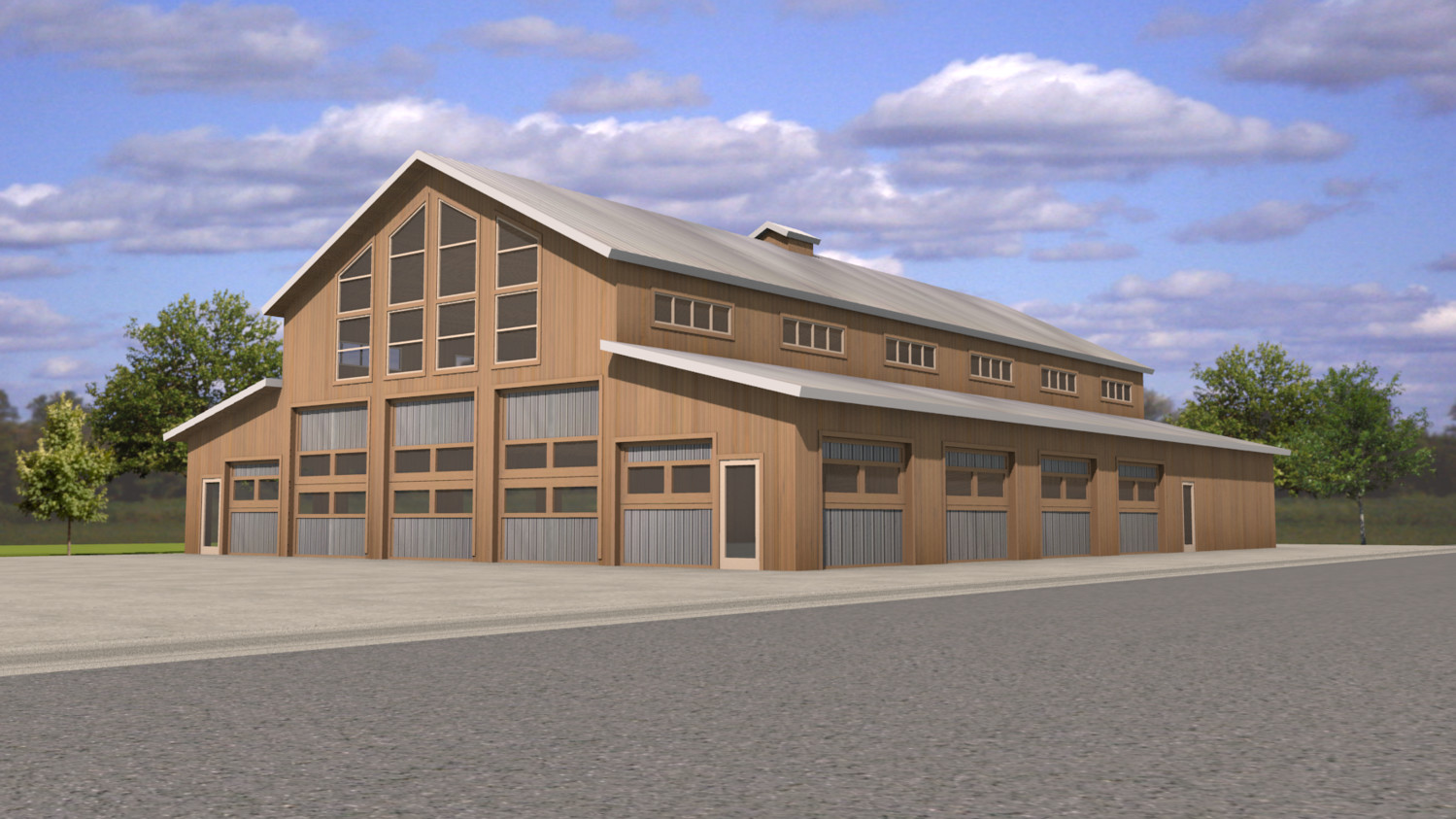 The finished event venue, featuring wood from Amish company Ozark Timber Frame, will resemble a barn.
