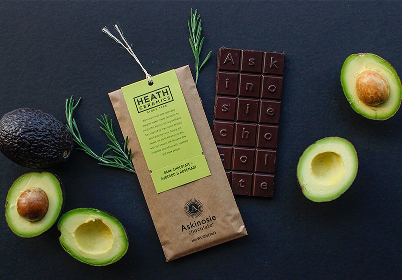 The Dark Chocolate + Avocado & Rosemary bar features avocados, rosemary and black pepper.