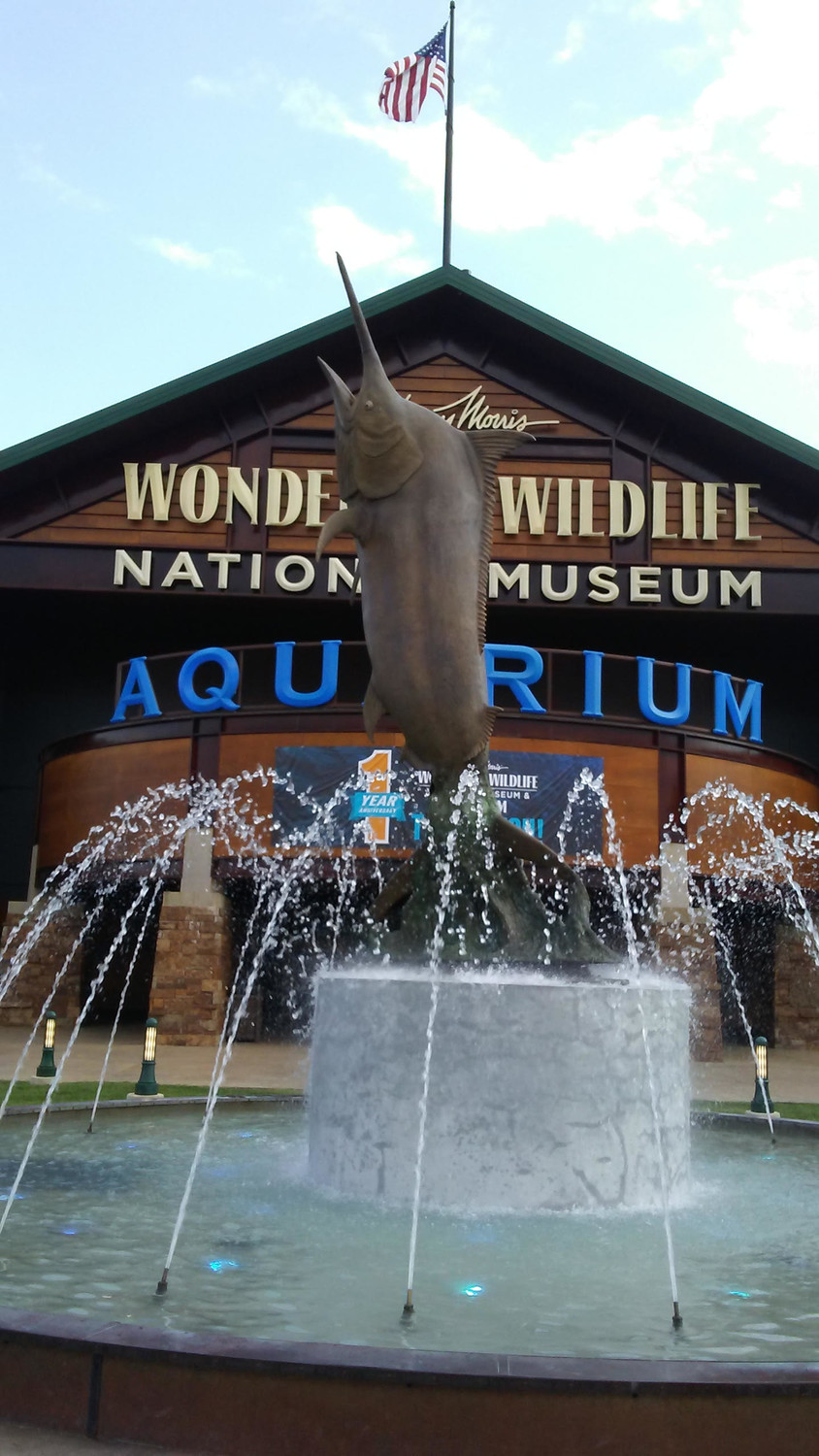 A 5,000-pound bronze marlin is installed in front of WOW's main aquarium entrance.