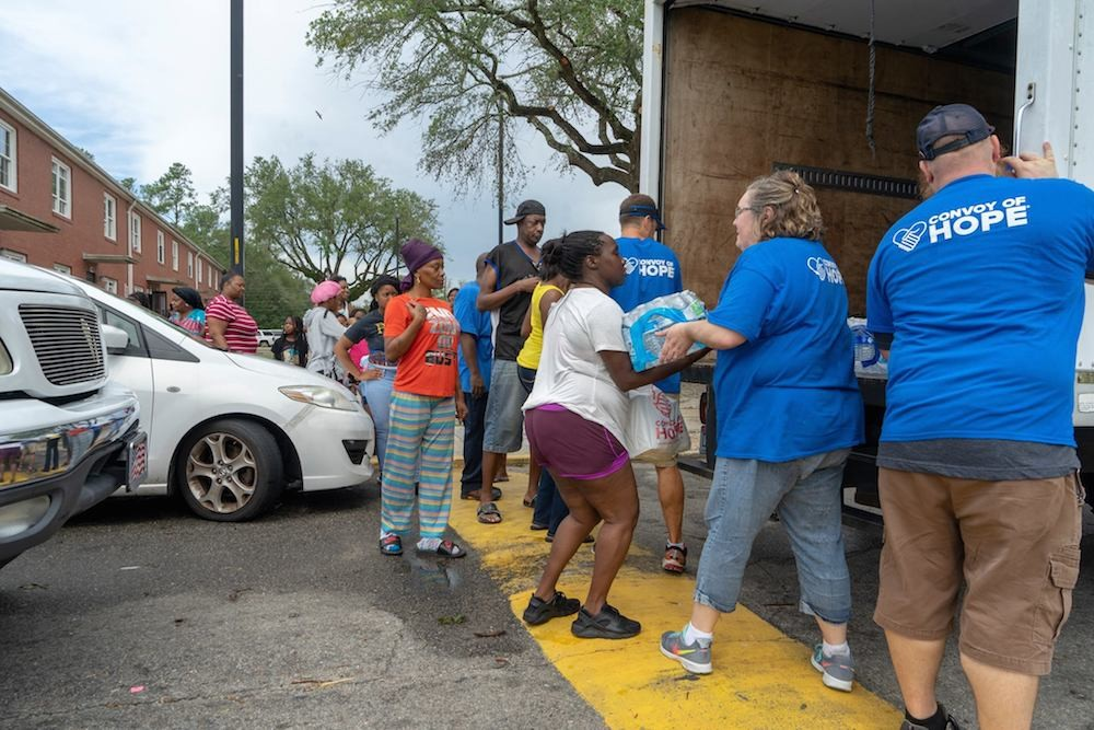 Convoy of Hope volunteers distribute supplies in the Carolinas.