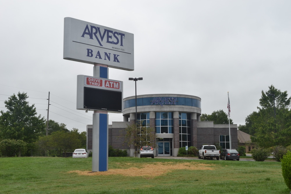 A former Bear State Bank branch at 2835 E. Battlefield Road transitions to Arvest branding.