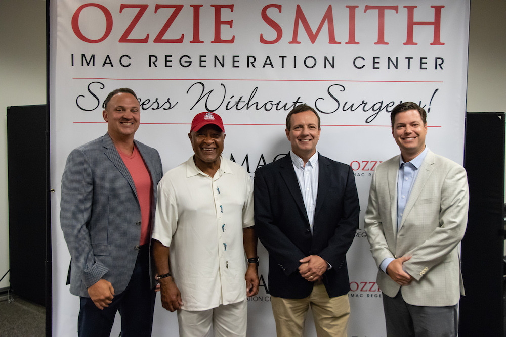 IMAC founder Dr. Matt Wallis, from left, Ozzie Smith, Advantage Therapy founder Chuck Renner and IMAC CEO Jeff Ervin combine forces.
