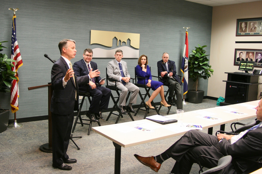 Missouri Department of Transportation Director Patrick McKenna fields a question at a chamber event in support of Prop D. The panel discussion included chamber President Matt Morrow, Dan Kleinsorge with SaferMo.com, Mary Beth Hartman with Hunter Chase & Associates Inc. and state Rep. Kevin Corlew.