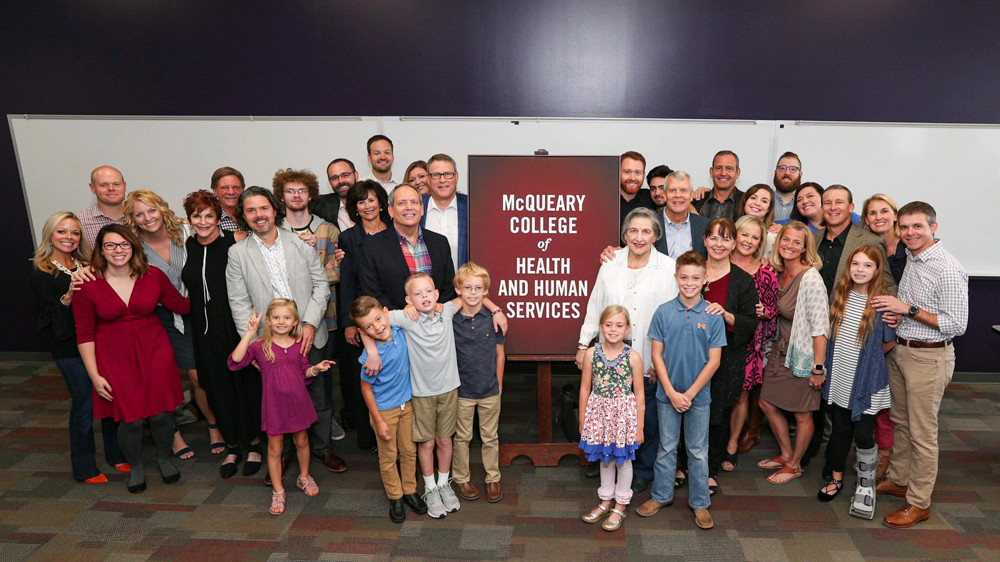 A contribution from McQueary family members leads to the renamed McQueary College of Health and Human Services.