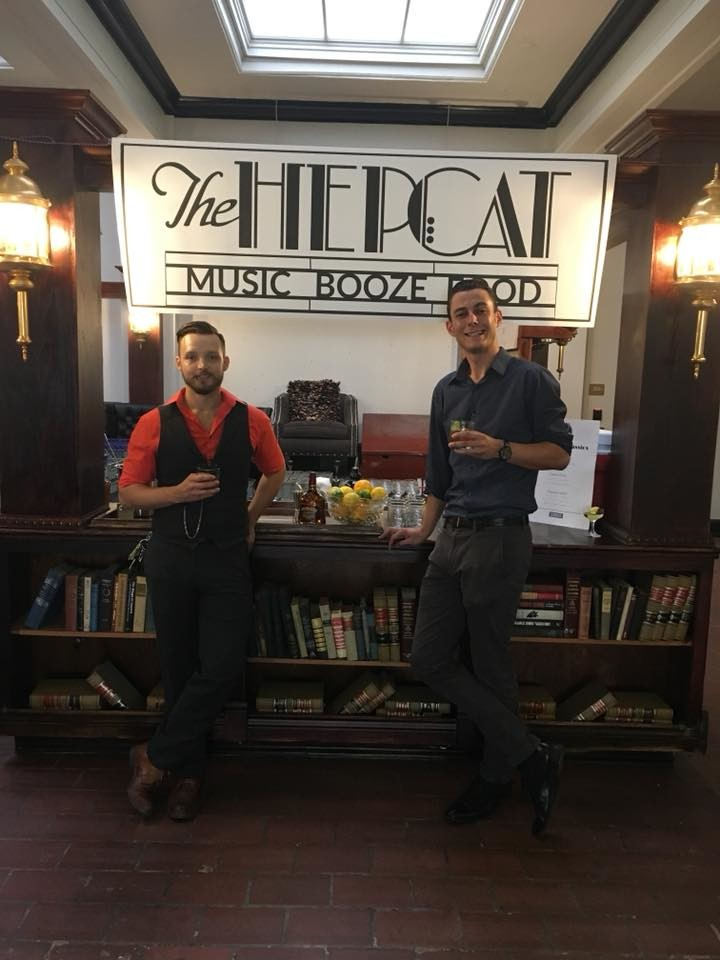 Dylan Fox, left, and Jimmy Rollins promote The Hepcat in September at downtown's Dapper barbershop.