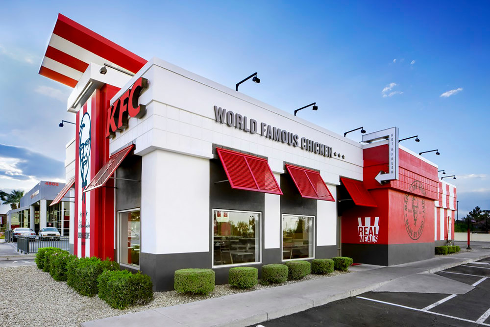 "Kentucky Fried Chicken is opening a restaurant similar to the one pictured above featuring its new ""American showman"" design."