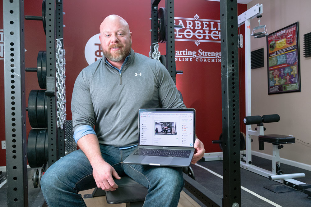 DIGITAL FITNESS: Matt Reynolds brings the gym to trainees' homes through his online strength coaching tool.