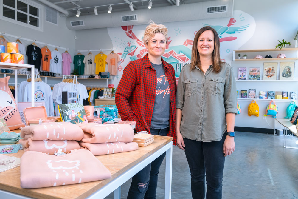 HOME BASE: Summer Trottier, left, and Brittany Bilyeu have set up shop in Galloway Creek for Culture Flock's first storefront.
