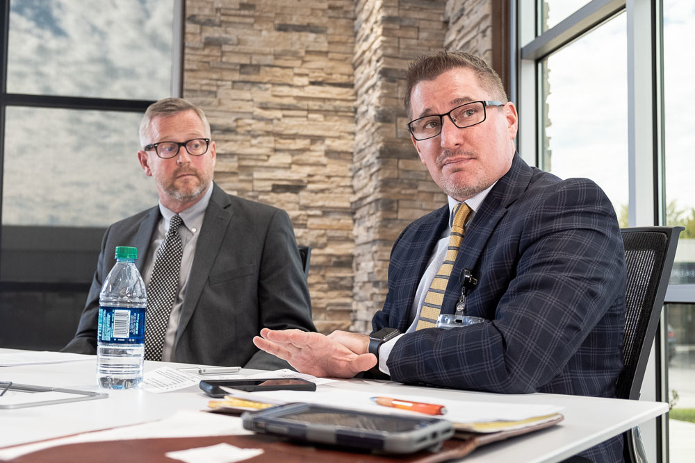 C.J. Davis, CEO of Burrell Behavioral Health, right, and Clay Goddard, director of the Springfield-Greene County Health Department, agree depression and anxiety are the leading cause of referrals.