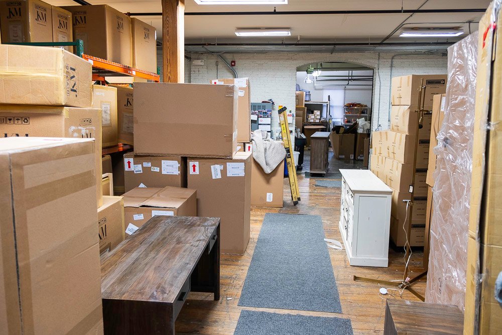 Boxes of furniture are stored, waiting to be unpacked as the weeklong store renovation continues.