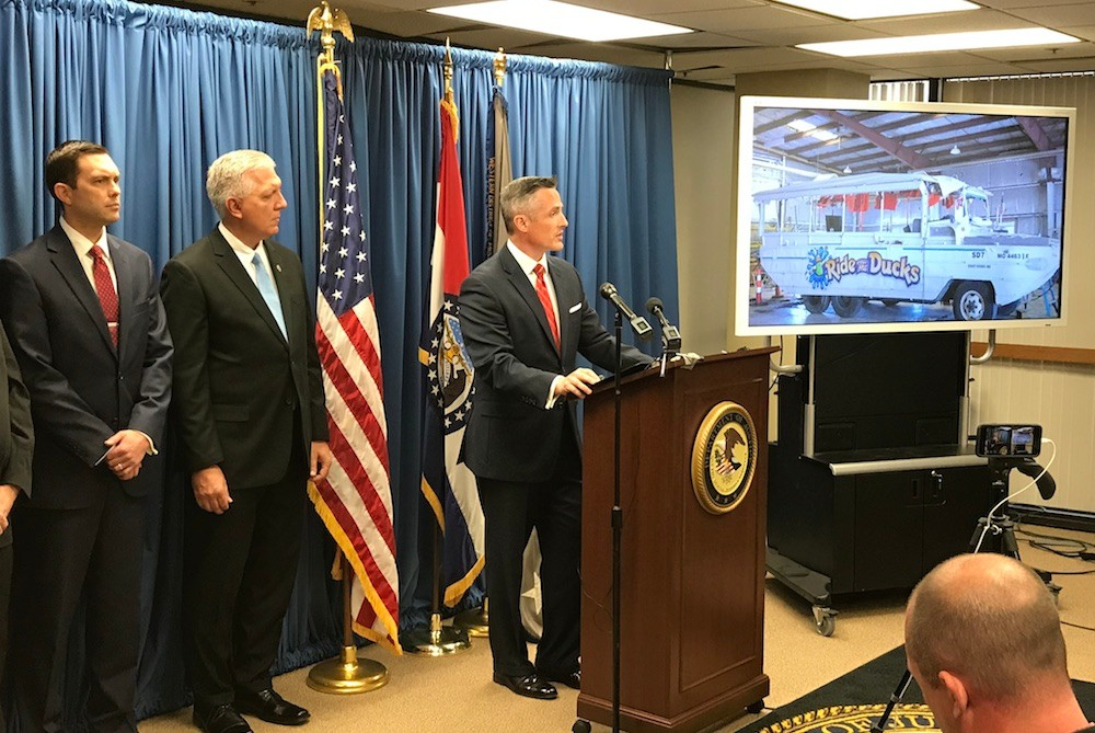 U.S. Attorney Tim Garrison announces the indictment during a news conference at his Hammons Tower office.