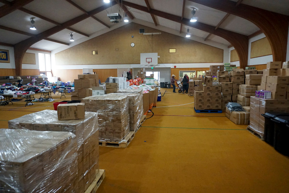 Convoy of Hope fills a gym in California with supplies.