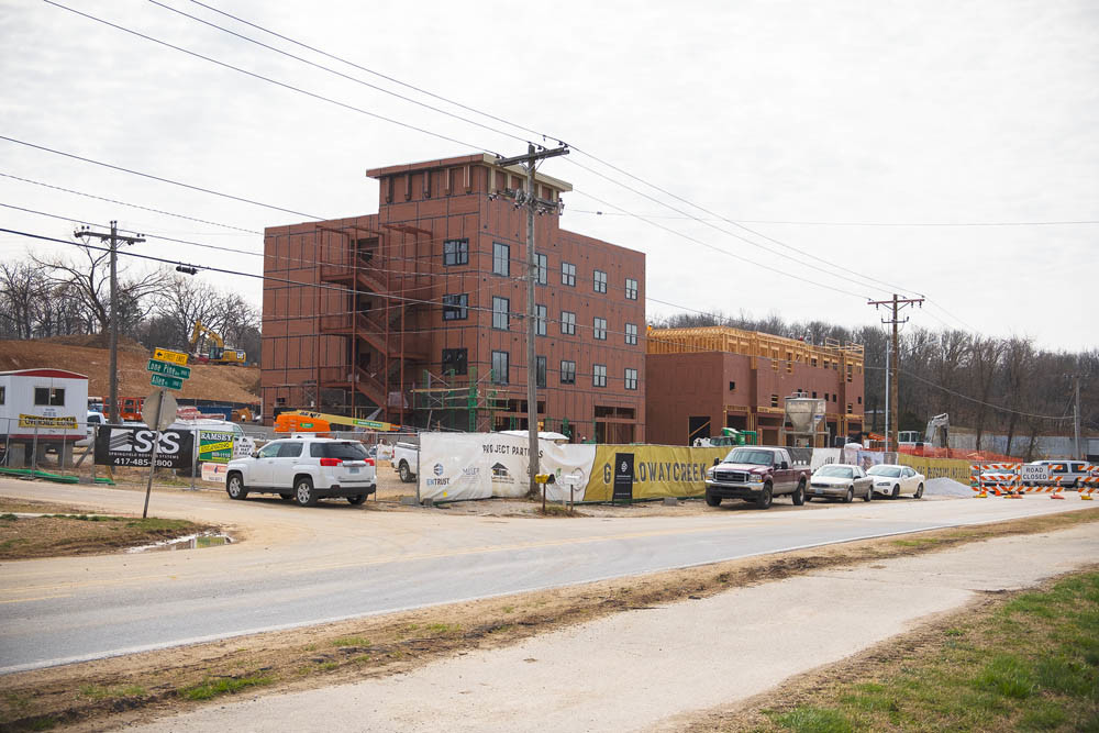 Pictured under construction in March, the four-story, mixed-use Galloway Creek was completed in September.