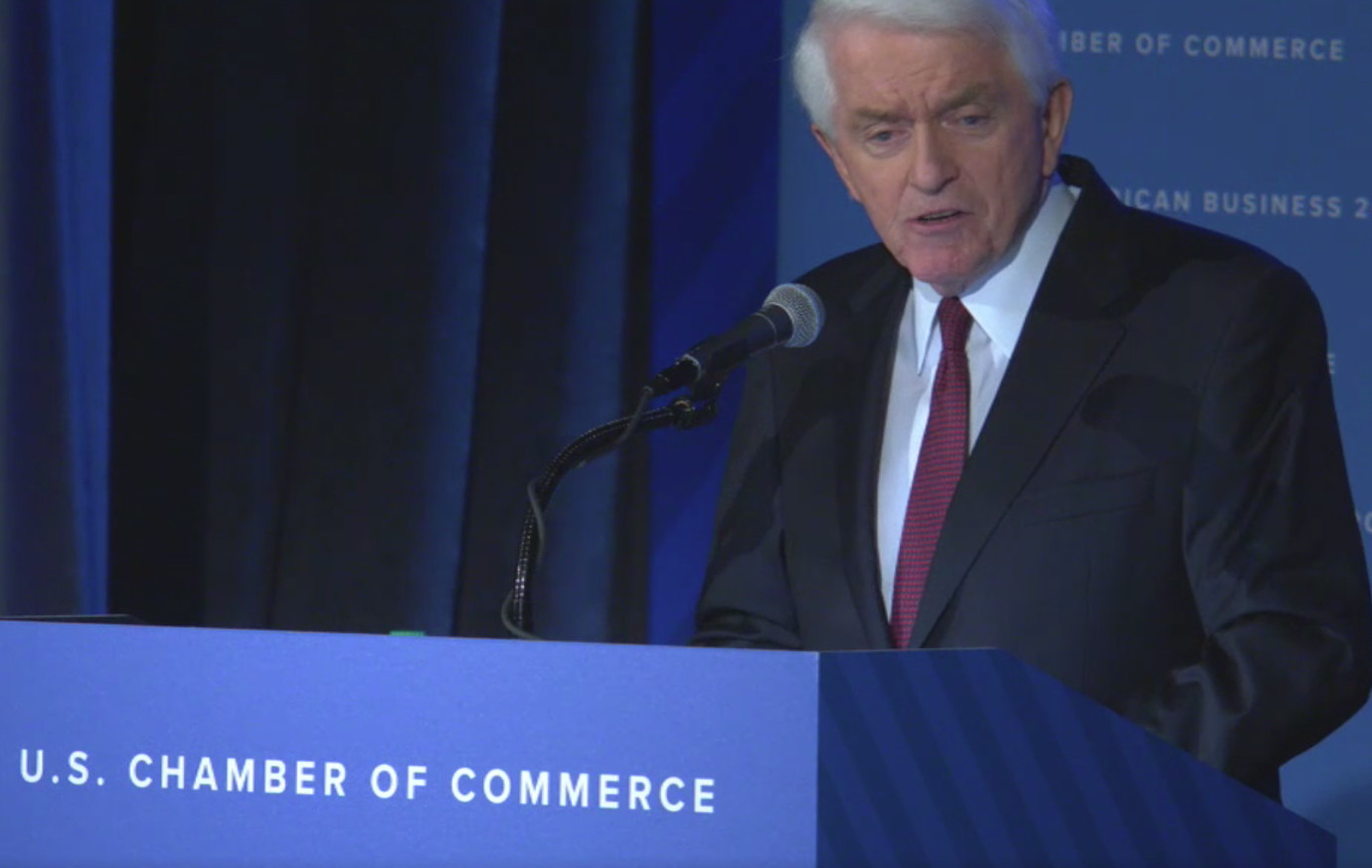 "U.S. Chamber of Commerce President and CEO Thomas Donohue says the free enterprise system is working, unlike the ""failed ideas"" of socialism or government managed-economies."