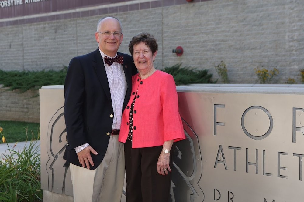 Missouri State University President Clif Smart poses with Mary Jo Wynn five years ago at a dedication ceremony. She died yesterday at age 87.