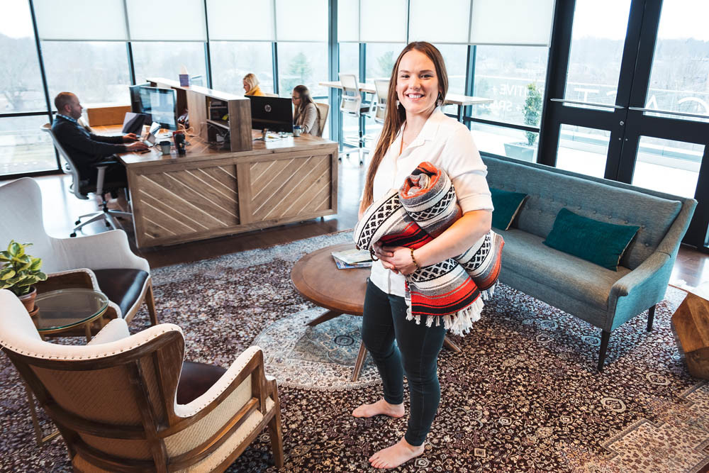 JUST RELAX: Jayme Sweere travels to offices to lead exercises that relieve stress from the job.