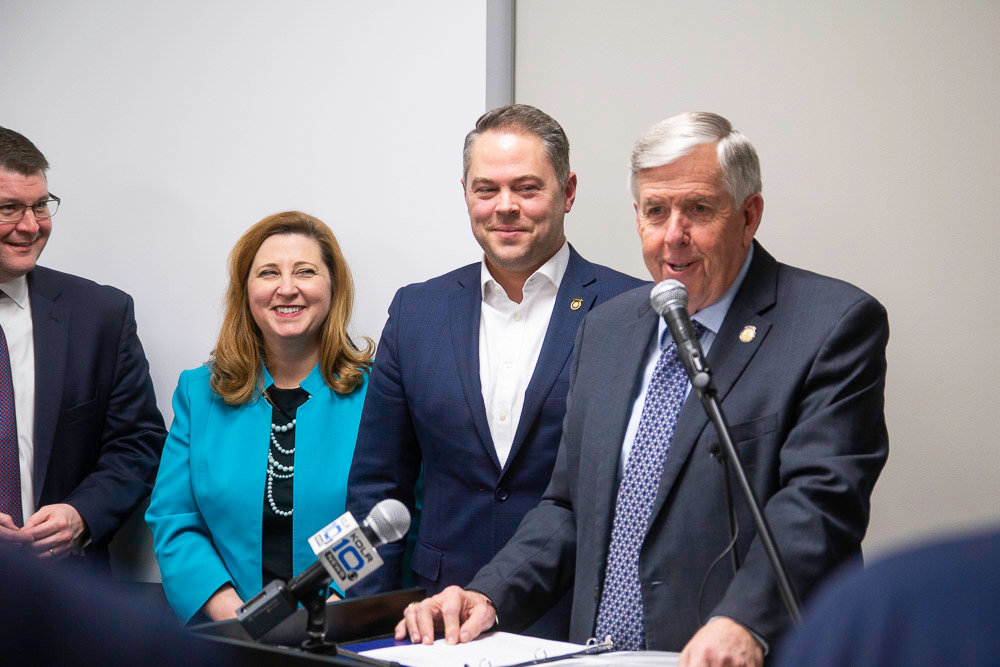 Gov. Mike Parson discusses his administration's priority for Fast Track. From left, he's joined by Springfield chamber President Matt Morrow, state Education Department Commissioner Zora Mulligan and House Speaker Elijah Haahr.