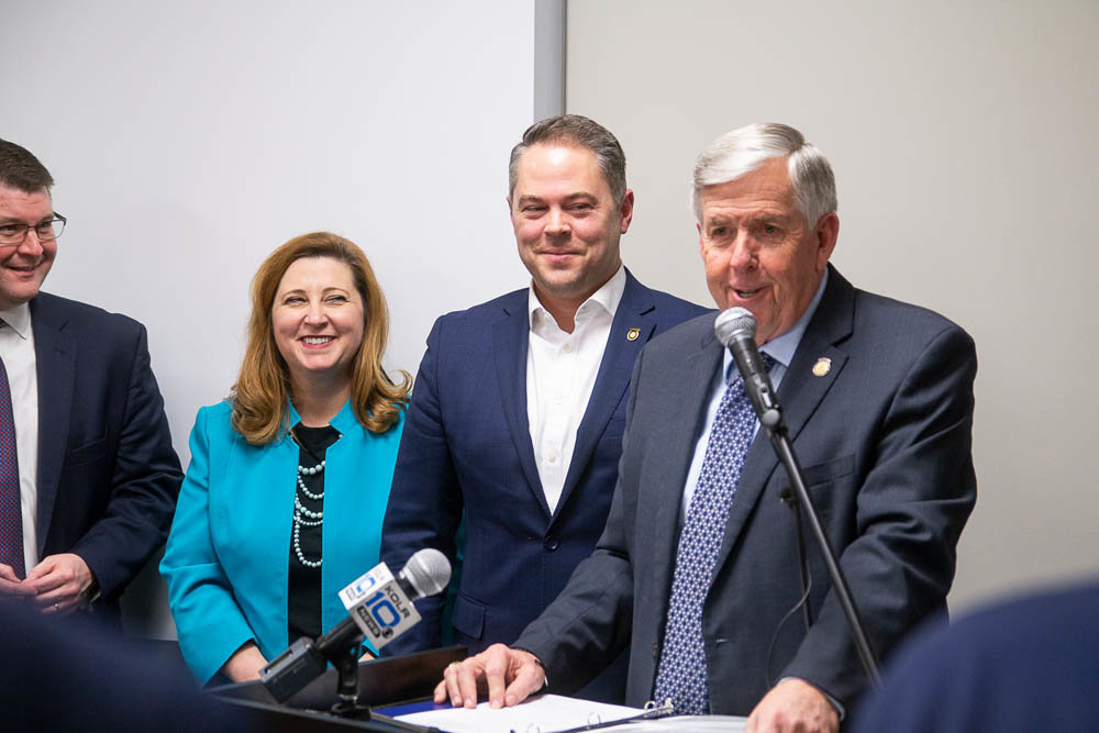 Gov. Mike Parson discusses his administration's priority for Fast Track. He's joined, from left, by Springfield chamber President Matt Morrow, state Education Department Commissioner Zora Mulligan and Missouri House Speaker Elijah Haahr.