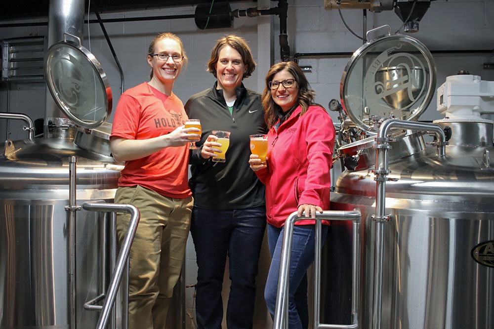 Sisters Carol and Susan McLeod of Hold Fast Brewing and Jen Leonard with Tie & Timber Beer Co. join forces on a beer collaboration.