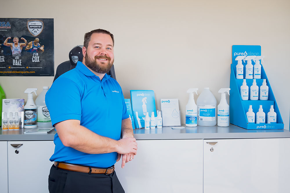 Trent Freeman, founder and CEO of Pure & Clean LLC, says his products use hypochlorous acid, a naturally occurring compound in white blood cells.